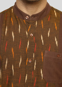 Wadaj Khadi Brown Satvik Kurta Shirt, Men Shirts, Wadaj Khadi, ihaat, [made_in_india], [handmade] - ihaat