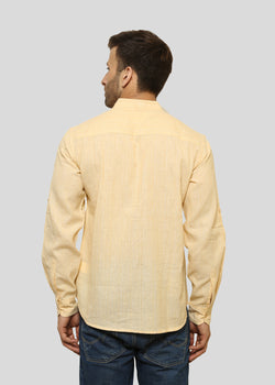 Wadaj Khadi Cream Dhanush Kurta Shirt, Men Shirts, Wadaj Khadi, ihaat, [made_in_india], [handmade] - ihaat