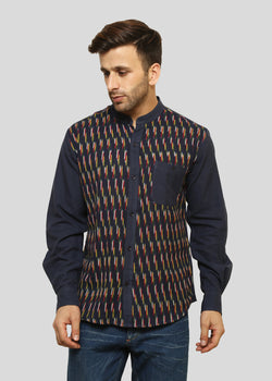 Wadaj Khadi Indigo Sarvin Kurta Shirt, Men Shirts, Wadaj Khadi, ihaat, [made_in_india], [handmade] - ihaat
