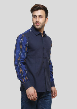 Wadaj Khadi Indigo Ojas Kurta Shirt, Men Shirts, Wadaj Khadi, ihaat, [made_in_india], [handmade] - ihaat
