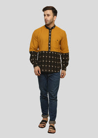 Wadaj Khadi Mustard Yuvan Kurta Shirt, Men Shirts, Wadaj Khadi, ihaat, [made_in_india], [handmade] - ihaat