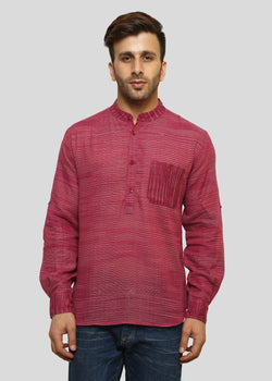 Wadaj Khadi Pink Aryan Kurta Shirt, Men Shirts, Wadaj Khadi, ihaat, [made_in_india], [handmade] - ihaat
