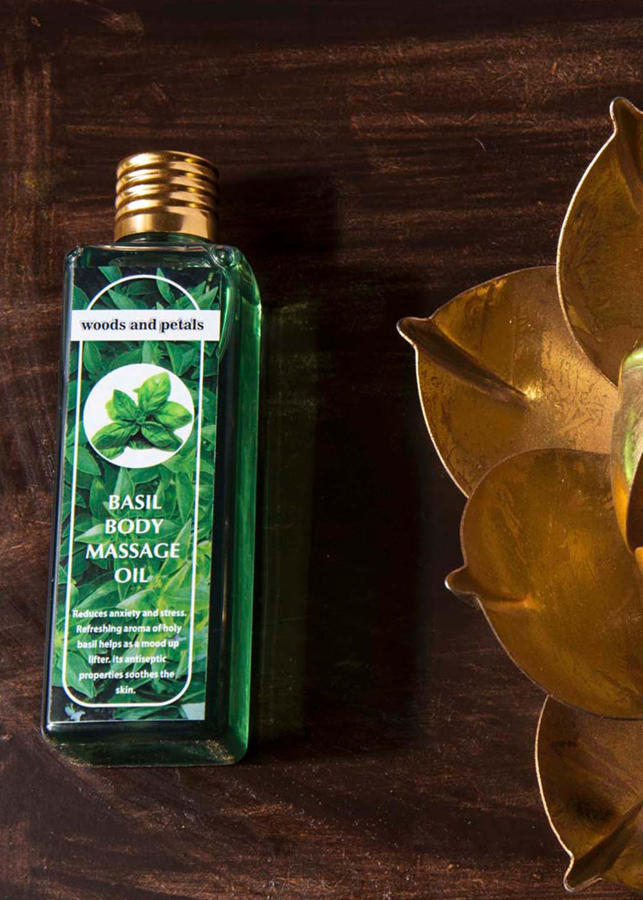 Woods And Petals Basil Body Massage Oil, Body Oil, Woods And Petals, ihaat, [made_in_india], [handmade] - ihaat