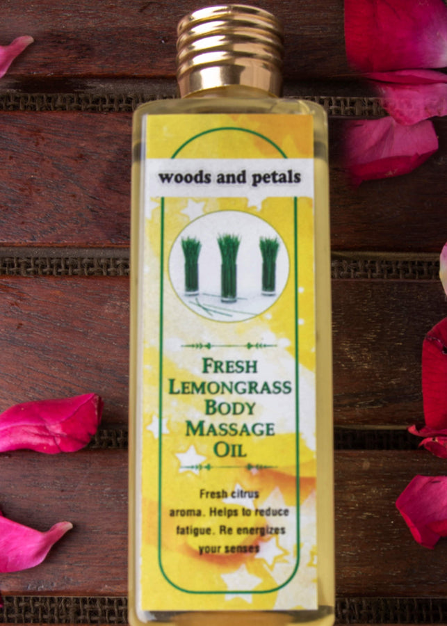 Woods And Petals Lemongrass Body Massage Oil, Body Oil, Woods And Petals, ihaat, [made_in_india], [handmade] - ihaat