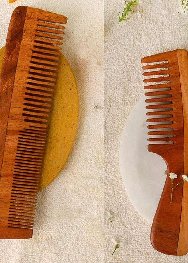 Woods And Petals Neem Wood Combs (Set Of 2), Beauty & Accessories, Woods And Petals, ihaat, [made_in_india], [handmade] - ihaat