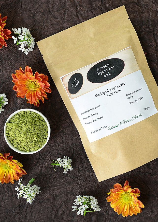 Woods And Petals Organic Moringa And Curry Leaves Hair Pack (Kesh Lepana), Hair Mask, Woods And Petals, ihaat, [made_in_india], [handmade] - ihaat