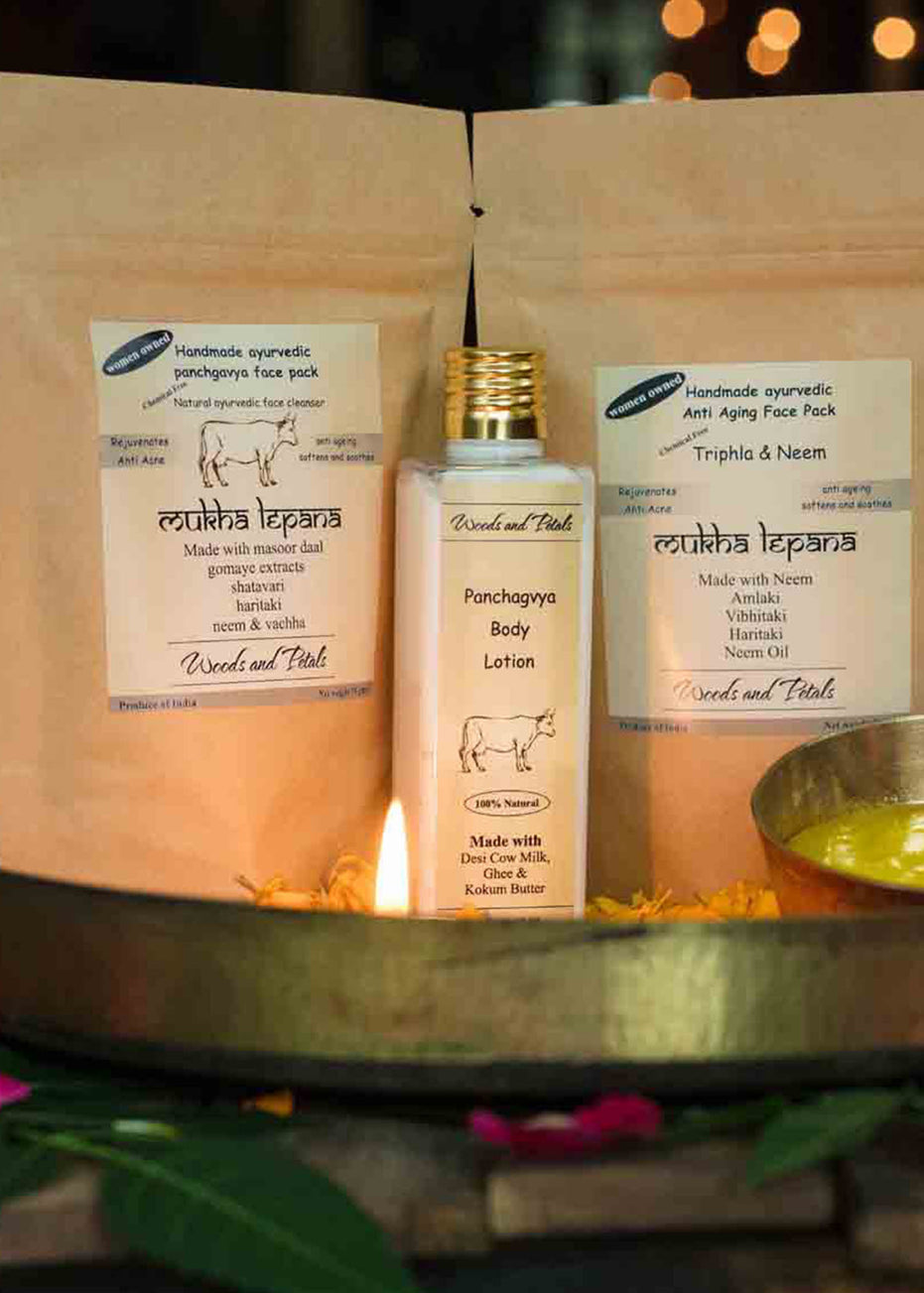 Woods And Petals Skin & Hair Care Ritual (Panchgavya Body Lotion + Panchgavya Face Pack + Triphla Neem Face And Hair Mask), Beauty & Skin Care, Woods And Petals, ihaat, [made_in_india], [handmade] - ihaat