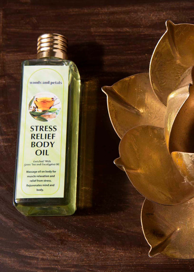 Woods And Petals Stress Relief Body Oil, Body Oil, Woods And Petals, ihaat, [made_in_india], [handmade] - ihaat
