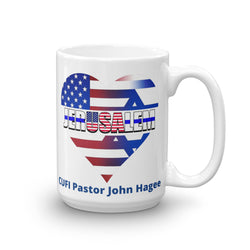 USA in The Heart of Jerusalem CUFI Pastor John Hagee Mug