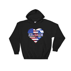 usa jerusalem 50% cotton/50% polyester hooded sweatshirt