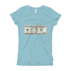 donald trump 100 dollar bill girl's the princess tee with tear away label