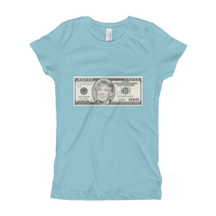 President Donald Trump 100 Dollar Bill Girl's The Princess Tee with Tear Away Label