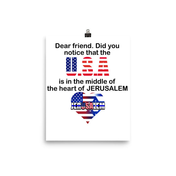 USA in The Heart of JERUSALEM Beautiful Poster. Many Sizes to Choose From