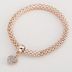street fashion simple heart pendant crystal bracelet women