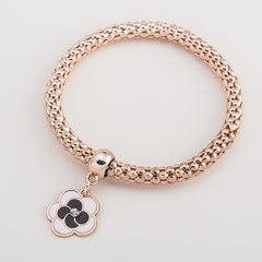 street fashion simple temperament rose gold color elastic popcorn chain snake chain cute Heart pendant Crystal Bracelet women