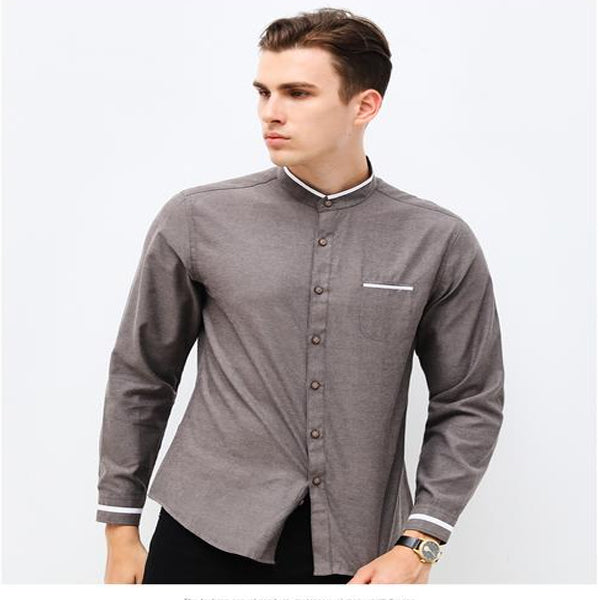 d382a8c83266d Casual Long Sleeve Mandarin Collar Korean Business Men's Dress Shirts
