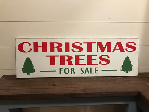 Christmas Trees For Sale - Hand Painted Rustic Wood Sign