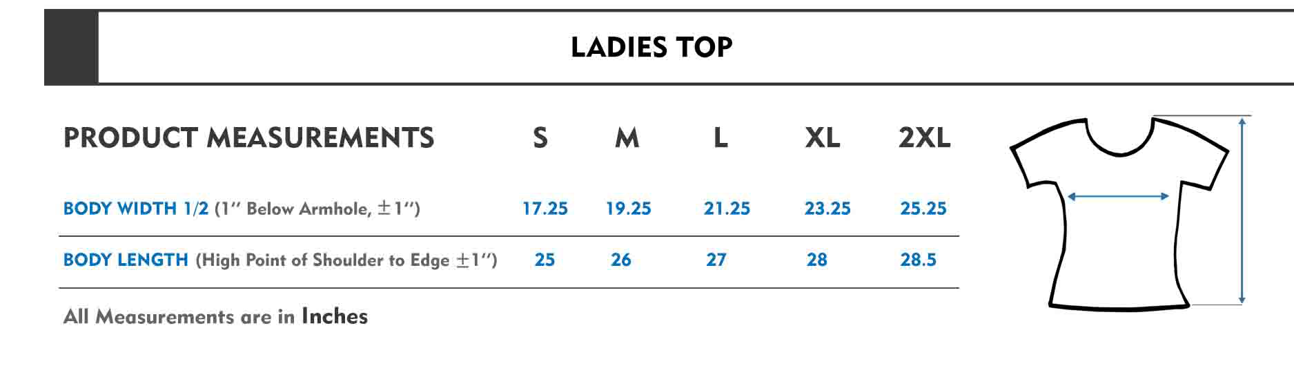 Ladies Top Size Chart