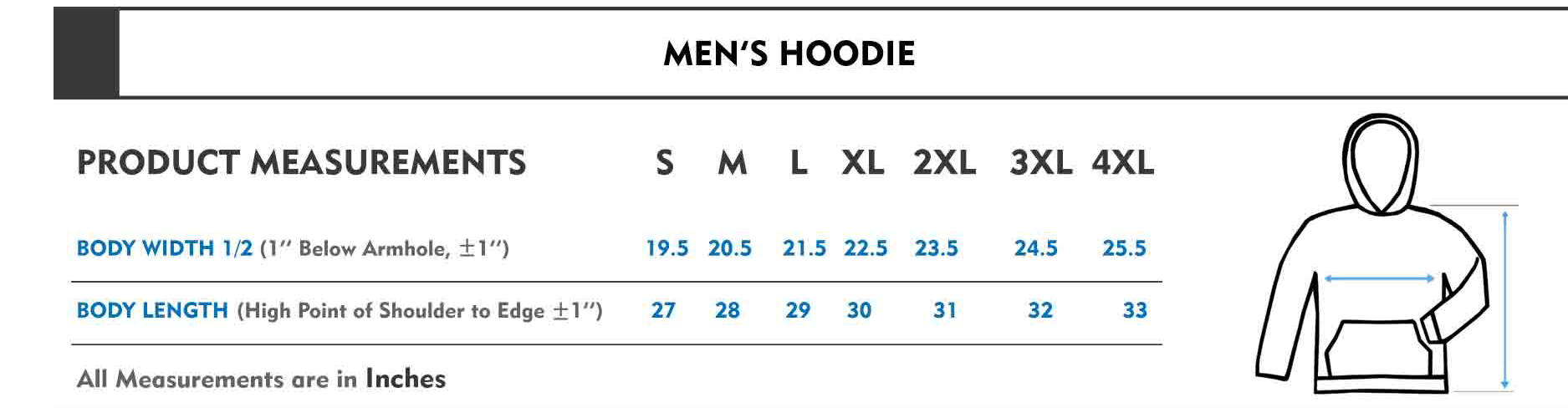 mens hoodie size chart