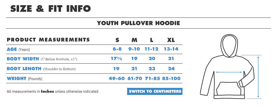 Kids hoodie inches1