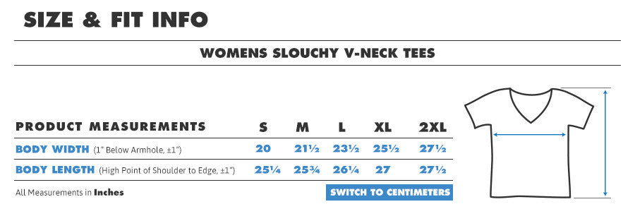 Tee female slouch vneck inches