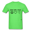 Peace, Love and Cows T-Shirt - kiwi