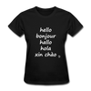 Hello in Five Languages T-Shirt - black