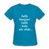 Hello in Five Languages T-Shirt - turquoise