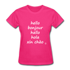 Hello in Five Languages T-Shirt - fuchsia