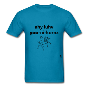 I Love Unicorns T-Shirt - turquoise