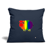 "Rainbow Sheep Throw Pillow Cover 18"" x 18"" - navy"