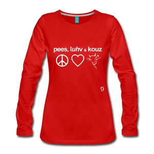 Peace, Love and Cows Long Sleeve T-Shirt - red
