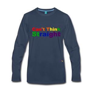Can't Think Straight Long Sleeve T-Shirt - navy