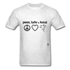 Peace, Love and Cows T-Shirt - light heather grey