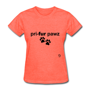 Prefer Paws T-Shirt - heather coral