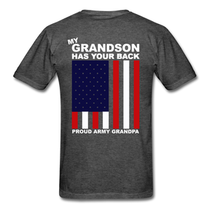 Proud Army Grandpa Red White and Blue T-Shirt - heather black
