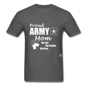 Proud Army Mom Red White and Blue T-Shirt - charcoal