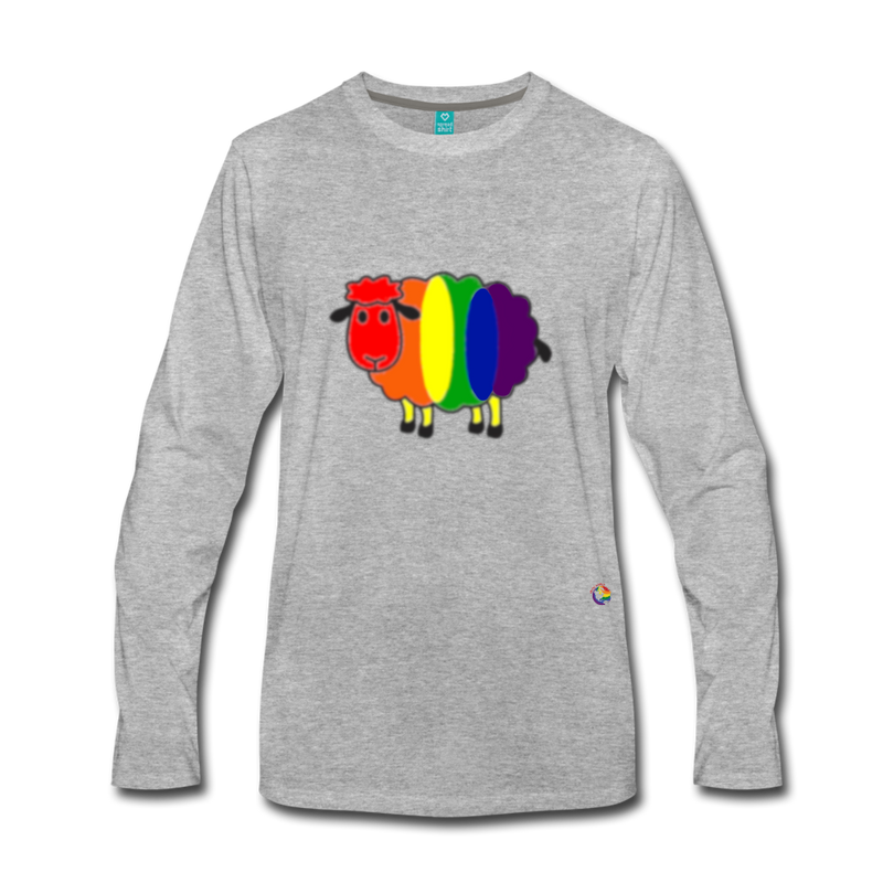Rainbow Sheep Long Sleeve T-Shirt - heather gray