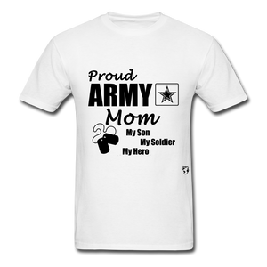 Proud Army Mom Red White and Blue T-Shirt - white