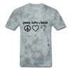 Peace, Love and Cows T-Shirt - grey tie dye