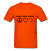 Peace, Love and Cows T-Shirt - orange