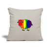"Rainbow Sheep Throw Pillow Cover 18"" x 18"" - light grey"