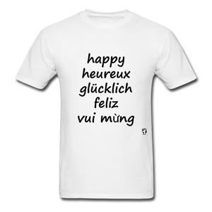 Happy in Five Languages - white
