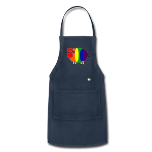 Rainbow Sheep Adjustable Apron - navy