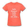 Hello in Five Languages T-Shirt - heather coral