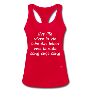 Live Life English, French, German, Spanish, Vietnamese Racerback Tank Top - red