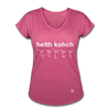 Health Coach Women's Tri-Blend V-Neck T-Shirt - heather raspberry