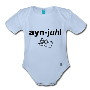 Angel Organic Short Sleeve Baby Bodysuit - sky