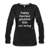 Happy in English, French, German, Spanish, Vietnamese Long Sleeve T-Shirt - black
