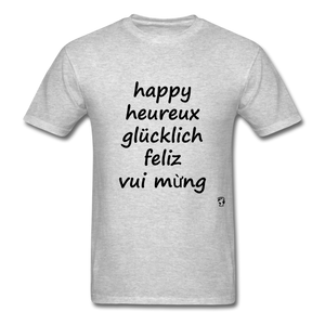 Happy in Five Languages - heather gray